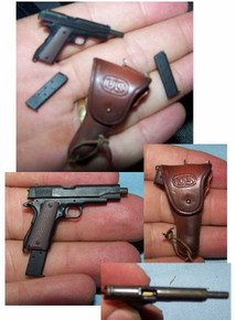 Miniature 1/6th Scale Cocking Colt 45, 3 x Clip & Holster