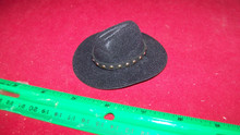 1:6th Scale Black Cowboy Hat w/Black Hat Band for larger heads