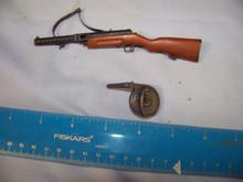 Miniature 1/6th Scale WWII Russian Metal & Wood Machine Gun w/drum Clip