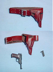 Miniature 1/6th Scale German Walther P38 pistol w/Leather Holster
