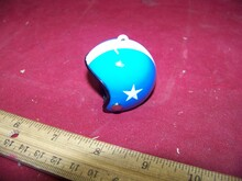 1/6 Scale Motorcycle Helmet w/Chin Strip Bluew/White Stripe