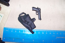1/6 Scale Black Leather Shoulder Holster & Pistol #10