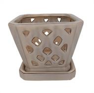 """Diamond Ceramic Orchid Pot/Saucer - 5"""" Square - Cream"""