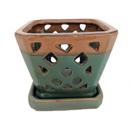 "Diamond Ceramic Orchid Pot/Saucer - 5"" Square - Forest Copper"