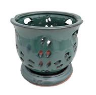 "Cauldron Orchid Pot/Saucer 6 5/8"" x 5 3/4"" - Forest Green"