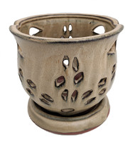 "Cauldron Orchid Pot/Saucer 6 5/8"" x 5 3/4"" - Coffee"