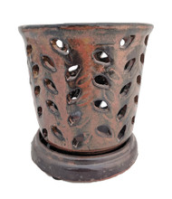 "Ceramic Orchid Pot/Saucer 5 1/4"" x 5 1/2"" - Copper"