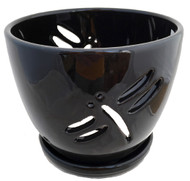"Dragonfly Black Ceramic Orchid Pot and Saucer + Felt Feet-5 1/2"" x 5 1/4"" #44234"