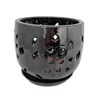 "Flower Cut Glazed Ceramic Orchid Pot/Saucer - Black Luster - 5"" x 5 1/2"""