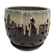 "Flower Cut Glazed Ceramic Orchid Pot/Saucer - Beige on Brown - 5"" x 5 1/4"""