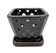 "Diamond Ceramic Orchid Pot/Saucer - 5"" Square - Black"