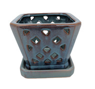 "Diamond Ceramic Orchid Pot/Saucer - 5"" Square - Opal Blue"