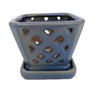"""Diamond Ceramic Orchid Pot/Saucer - 5"""" Square - Ocean Blue"""