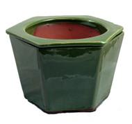 "Self Watering Glazed Ceramic Pot - Green - 6 3/8"" x 5 1/2"""