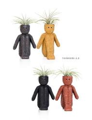 "Thinkers 2.0 Ceramic Vase/Living Air Plant - Black -  2"" x 2"" x 4"" Live Trends"