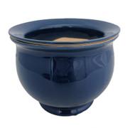 "Self Watering Glazed Ceramic Pot plus Felt Feet - Blue - 6 1/2"" x 5"""