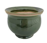 "Self Watering Glazed Ceramic Pot plus Felt Feet - Green - 6 1/2"" x 5"""