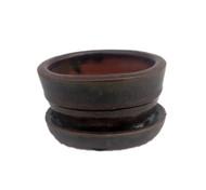 "Small Ceramic Bonsai Pot plus Saucer - Red Oval -4"" x 3 3/8"" x 2""  #14680"