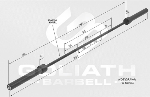 Goliath 25kg Squat bar - 35mm - black zinc