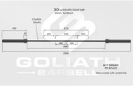 PRESALE Goliath 30.0kg Squat bar - 35mm - black zinc PRESALE (Copy of PRESALE Goliath 27.5kg Squat bar - 35mm - black zinc PRESALE)