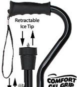ICE CANE Black Adjustable Offset w/ Comfort Gel Grip and Ice Tip  RC-80259