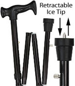 ICE CANE Black Adjustable FOLDING Orthopedic Handle W/Retractable Ice tip R80147