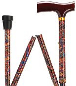 Fritz Style Handle Adjustable Folding Walking Cane - Paisley HS-9052533