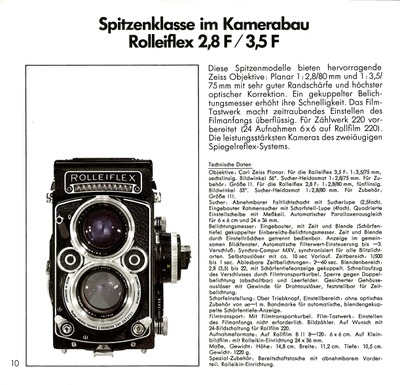 Spitzenklasse im Kamerabau Rolleiflex 2,8 F / 3,5 F