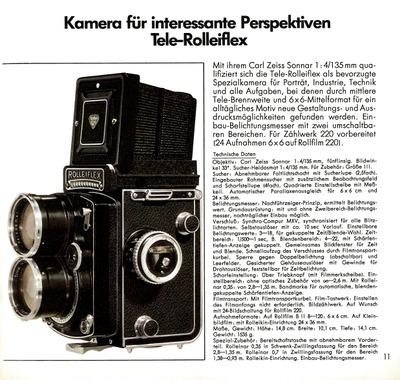 Kamera für interessante Perspektiven Tele-Rolleiflex