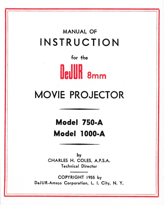 DeJUR Model 750-A and Model 1000-A 8mm Movie Projector