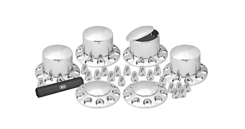 Heavy Duty Truck Hub and Nut Cover Kit (Front & Rear)