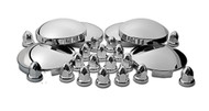 Chrome Heavy Duty Truck Hub and Nut Cover Kit (Front & Rear)