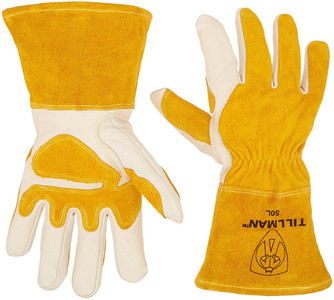 Large Tillman and Co 50L Top Grain Leather MIG Gloves with Split Leather Palm Reinforcements