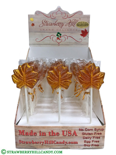 40 Count  Maple Leaf Lollipop Display