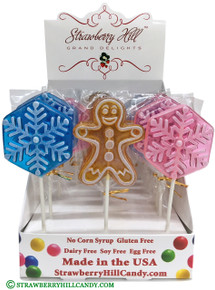 Gingerbread Man Lollipop, Snowflake Lollipop, Snowflake Candy