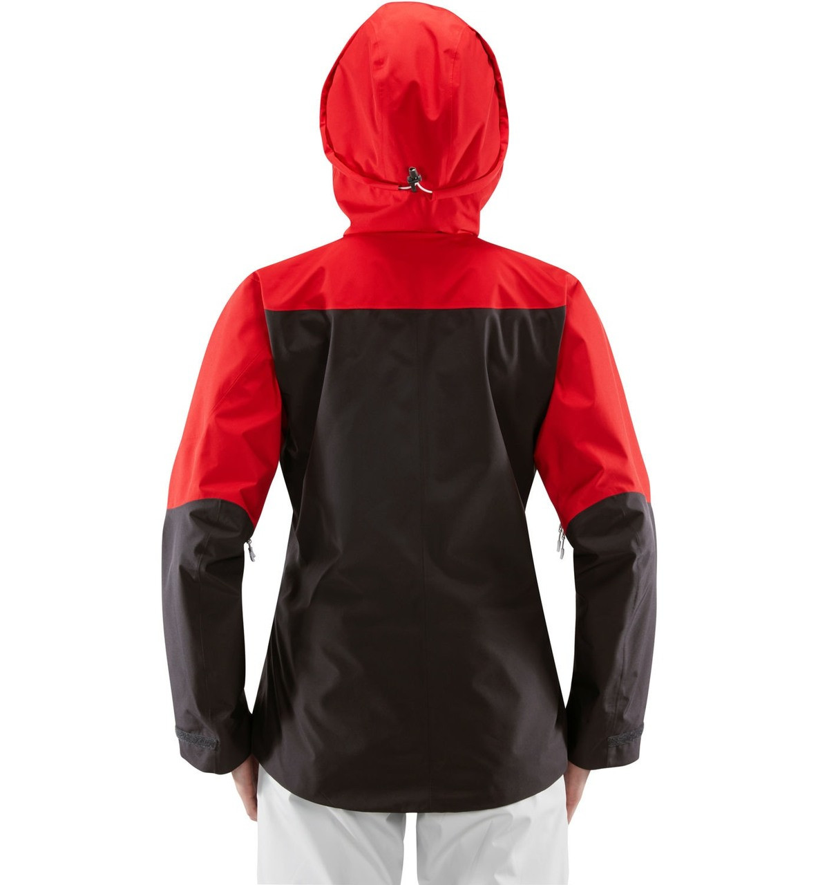 haglofs khione jacket womens ski jacket in slate rich red worn by model back view
