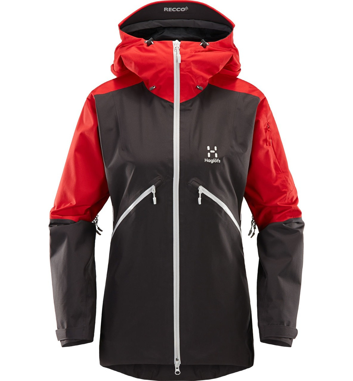 haglofs khione jacket women's ski jacket in slate rich red, front view