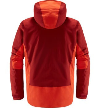 haglofs niva insulated jacket men's ski jacket in rubin habanero back view