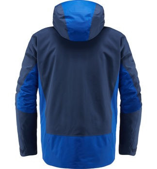 haglofs niva insulated jacket men's ski jacket in tarn blue cobalt blue back view