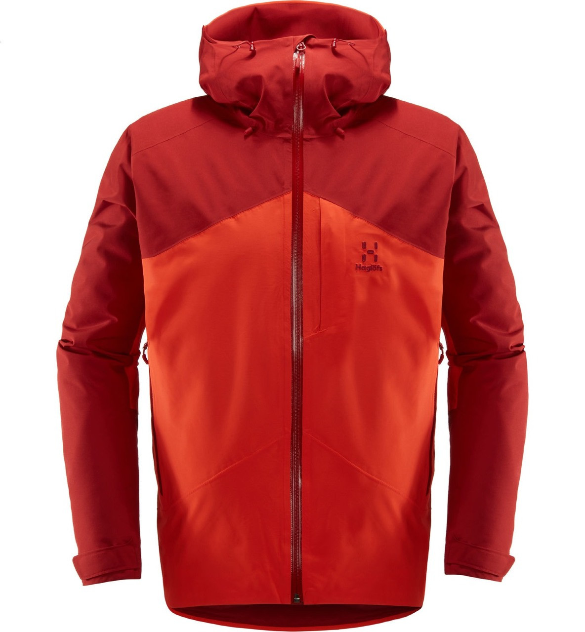 haglofs niva insulated jacket men's ski jacket in rubin habanero front view