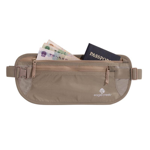 RFID Blocker Money Belt DLX with multiple currency and passport pockets