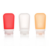 GoToob 2.4 oz. size in 3-pack of clear, red, orange