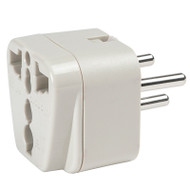 Israel adapter plug accepts 2-prong and 3-prong North American plugs.