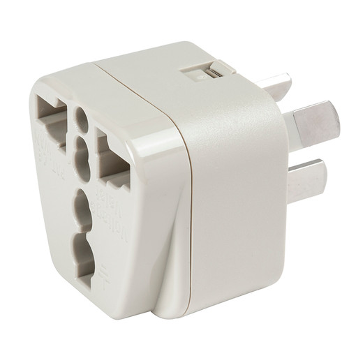 Australia/China Adapter Plug - Grounded accepts North American 2-prong and 3-prong plugs.