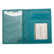 Leather Passport Wallet in aqua - interior view