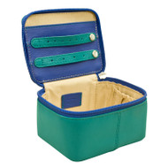 Leather jewelry box - aqua/cobalt interior