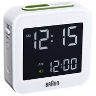 Braun digital travel alarm clock in white