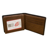 Leather RFID ID wallet in black/toffee