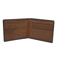 Leather RFID blocking wallet in black/toffee