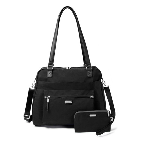 Overnight expandable tote comes with RFID blocking wristlet